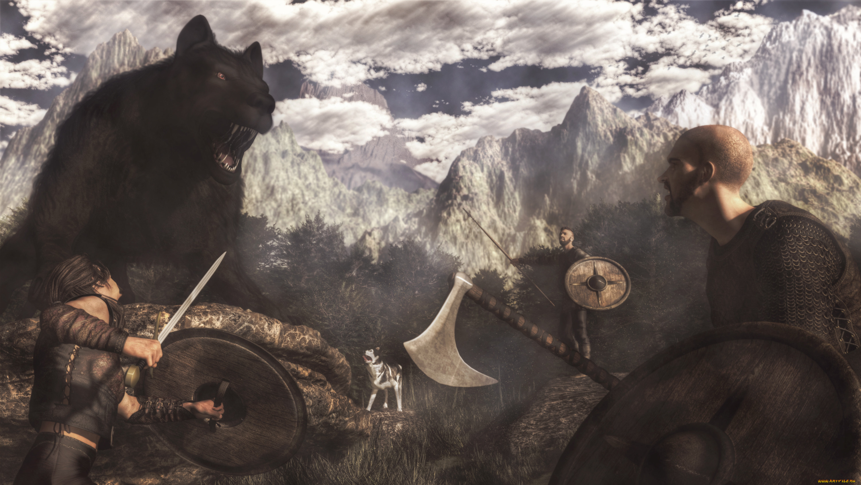 Викинг и медведь картинки